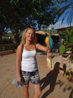 With the parrot in Marineland, Palma de Mallorca